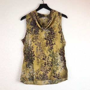 Banana Republic M Cowl Sleeveless Top Leaf Print